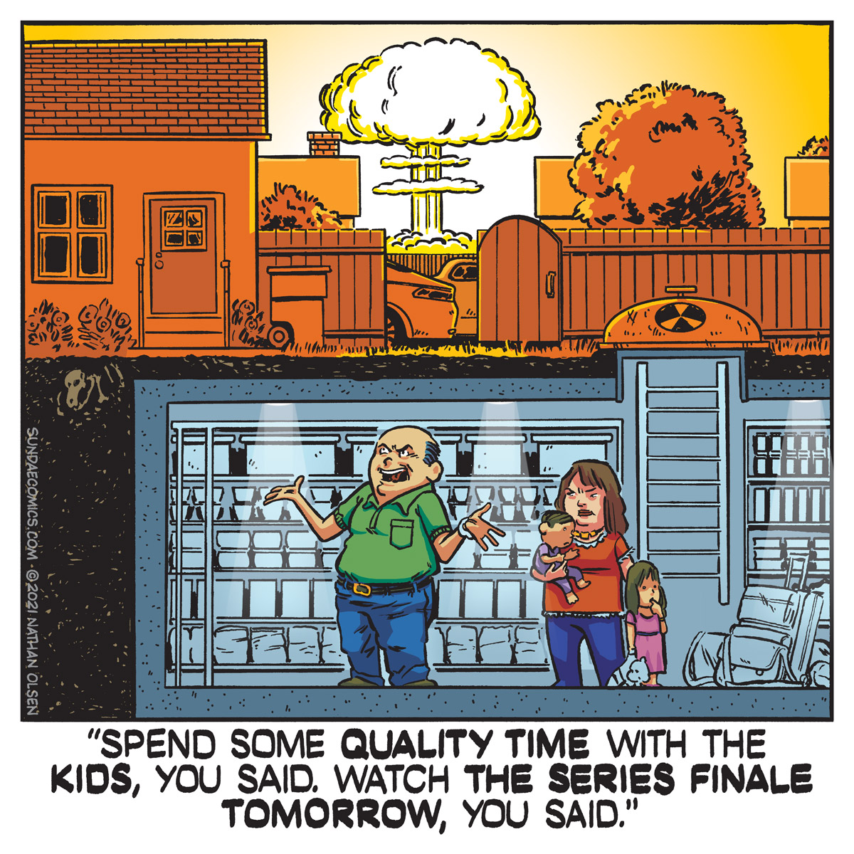 A silly webcomic about parental priorities and the benefits of binge watching television.