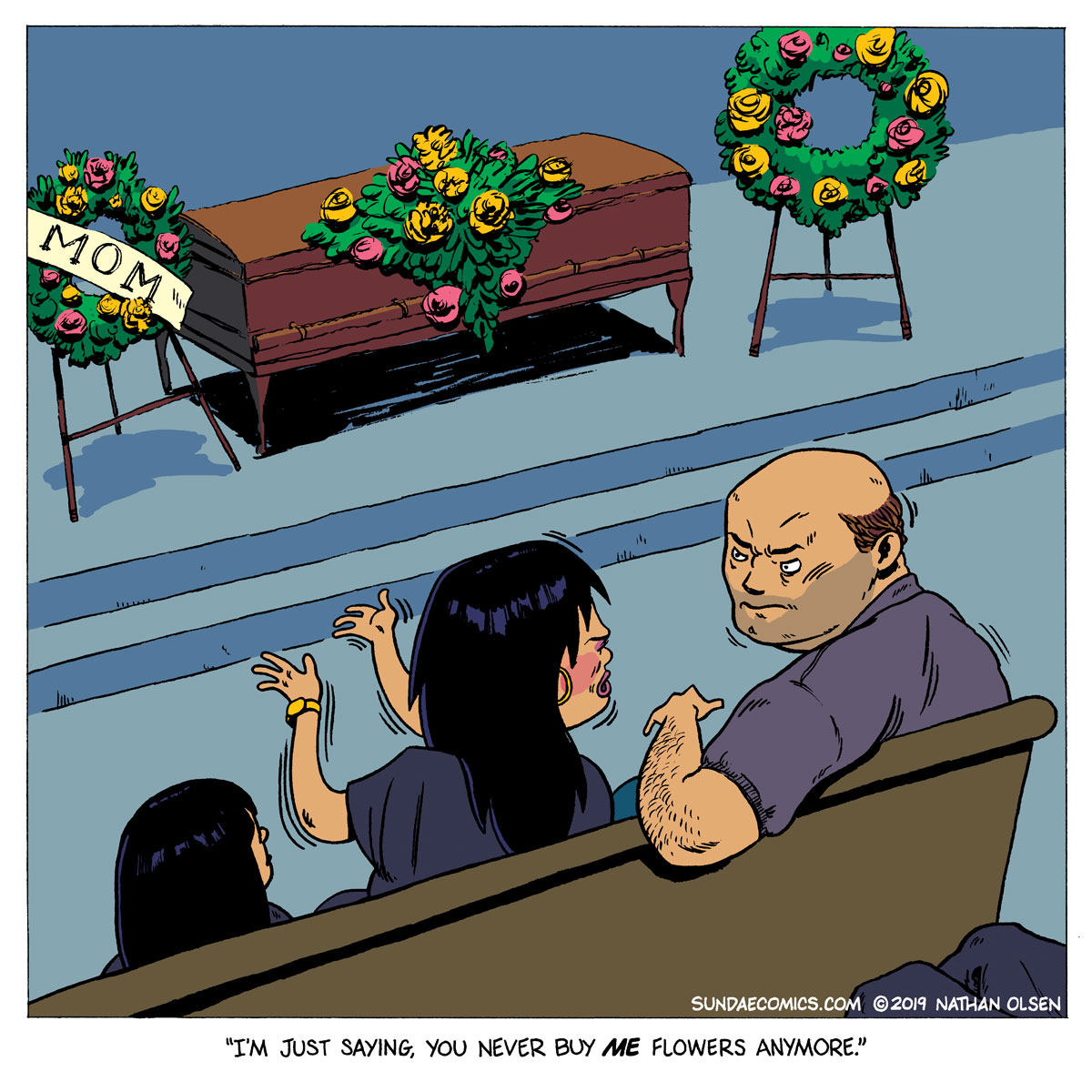 A webcomic about the dangers of forgetting to buy your wife flowers for Mother's Day.