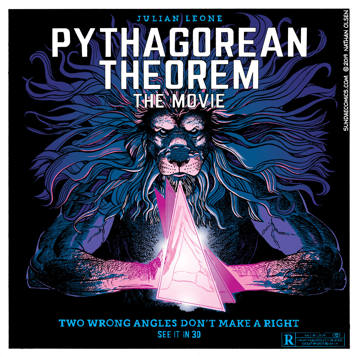A webcomic of a movie poster for Julian Leone's latest feature film, Pythagorean Theorem: The Movie.