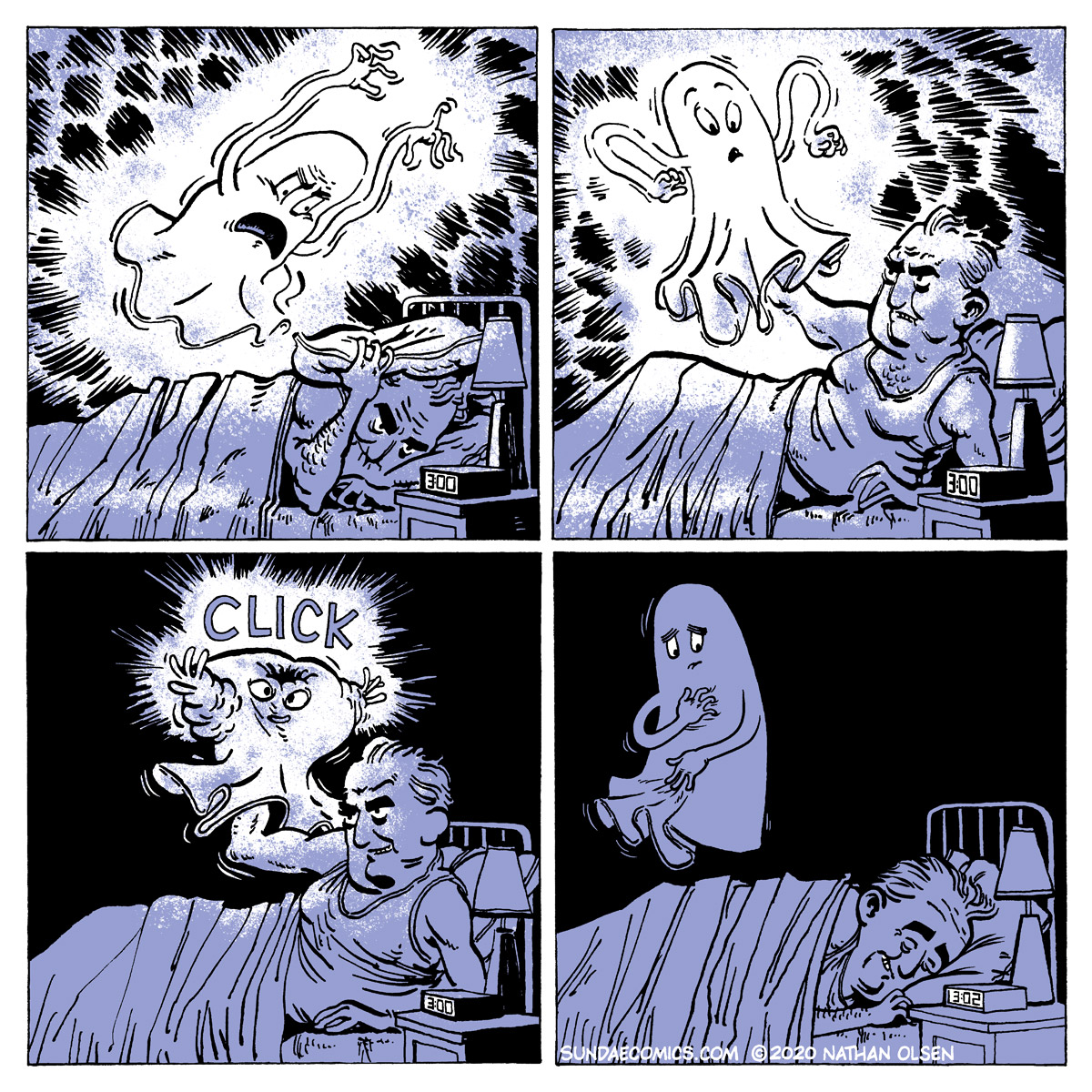 A webcomic about a tired old man whose sleep has been disturbed by a loud and obnoxious ghost.
