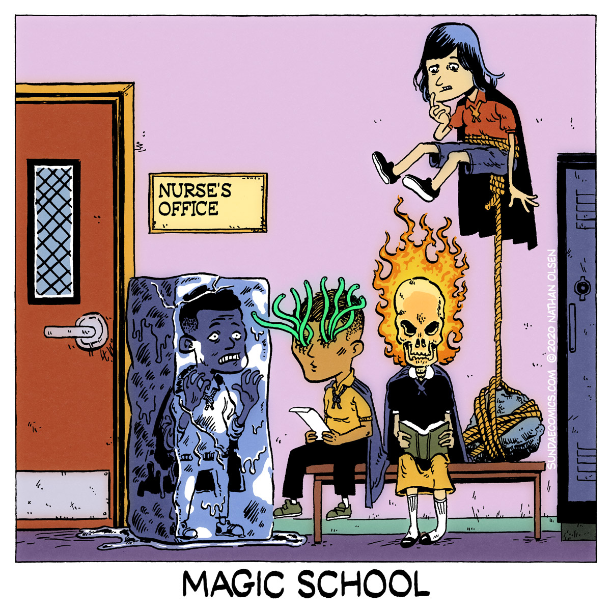 A webcomic about a group of students sent to the Nurse's Office at Magic School.
