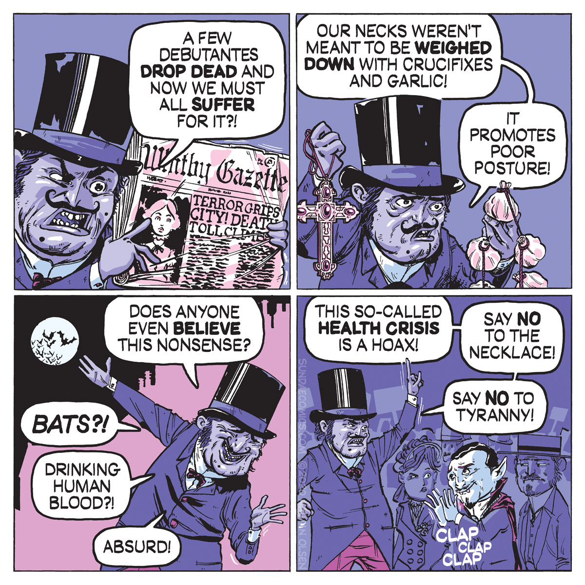 A webcomic about a Victorian Englishman who doubts the effectiveness of crucifixes and garlic as protection from vampires.