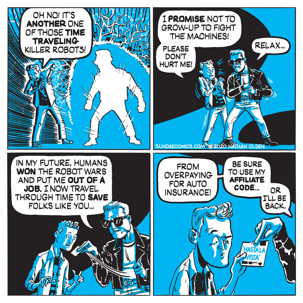 A webcomic about a murderous robot from the future with a promo code.
