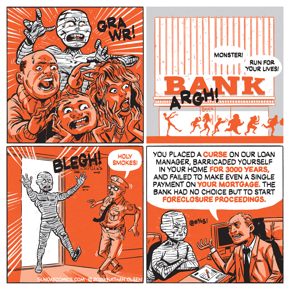 A webcomic about an ancient mummy who learns about compound interest the hard way.