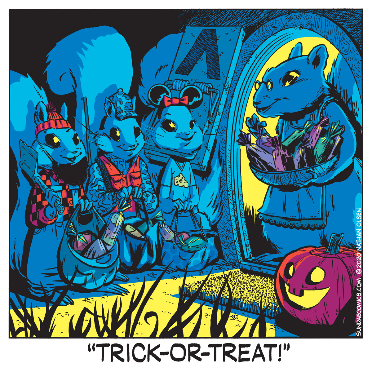 A webcomic about some kids who go trick-or-treating. But they're squirrels. It's cute.