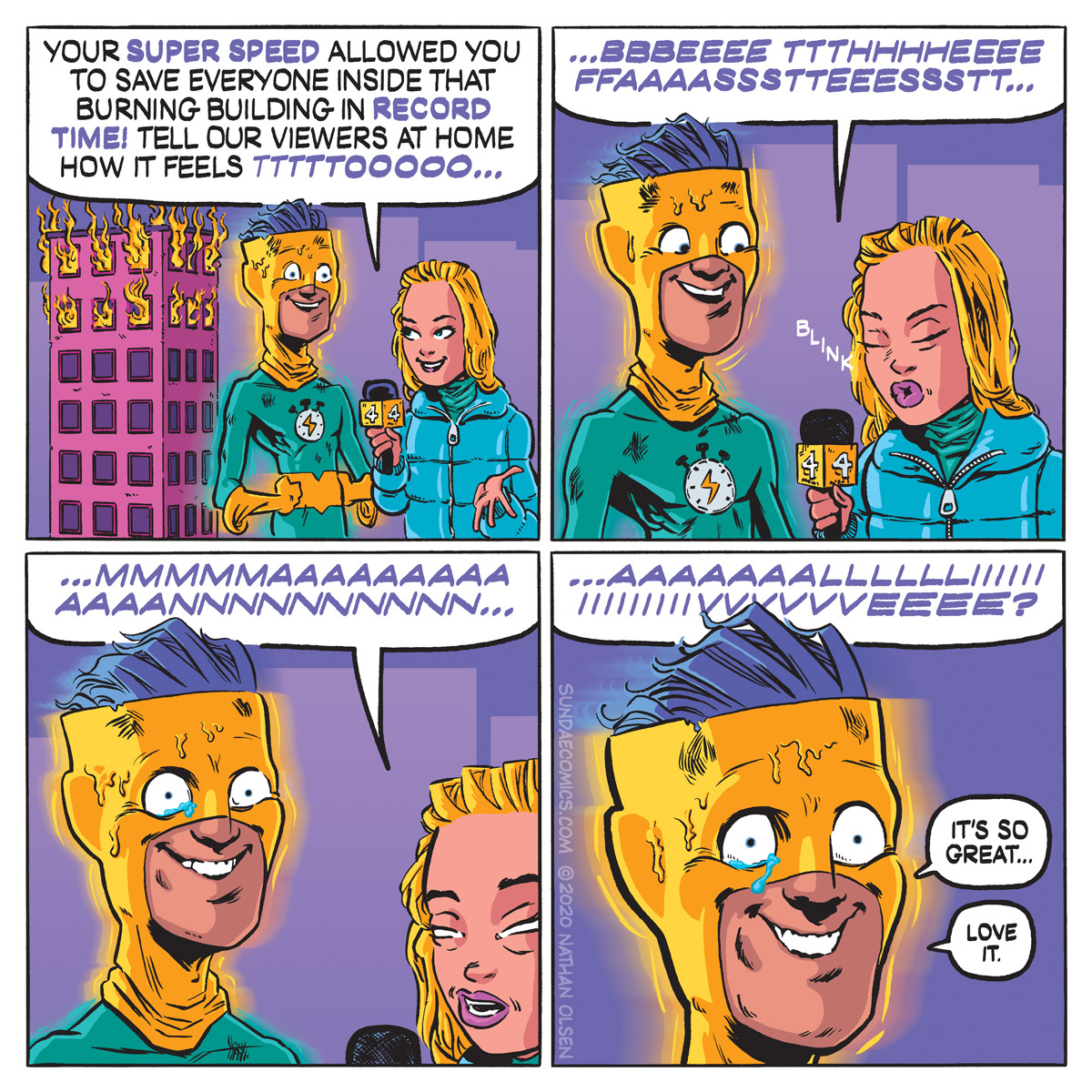 A webcomic about what it is really like to be the fastest superhero in the world.