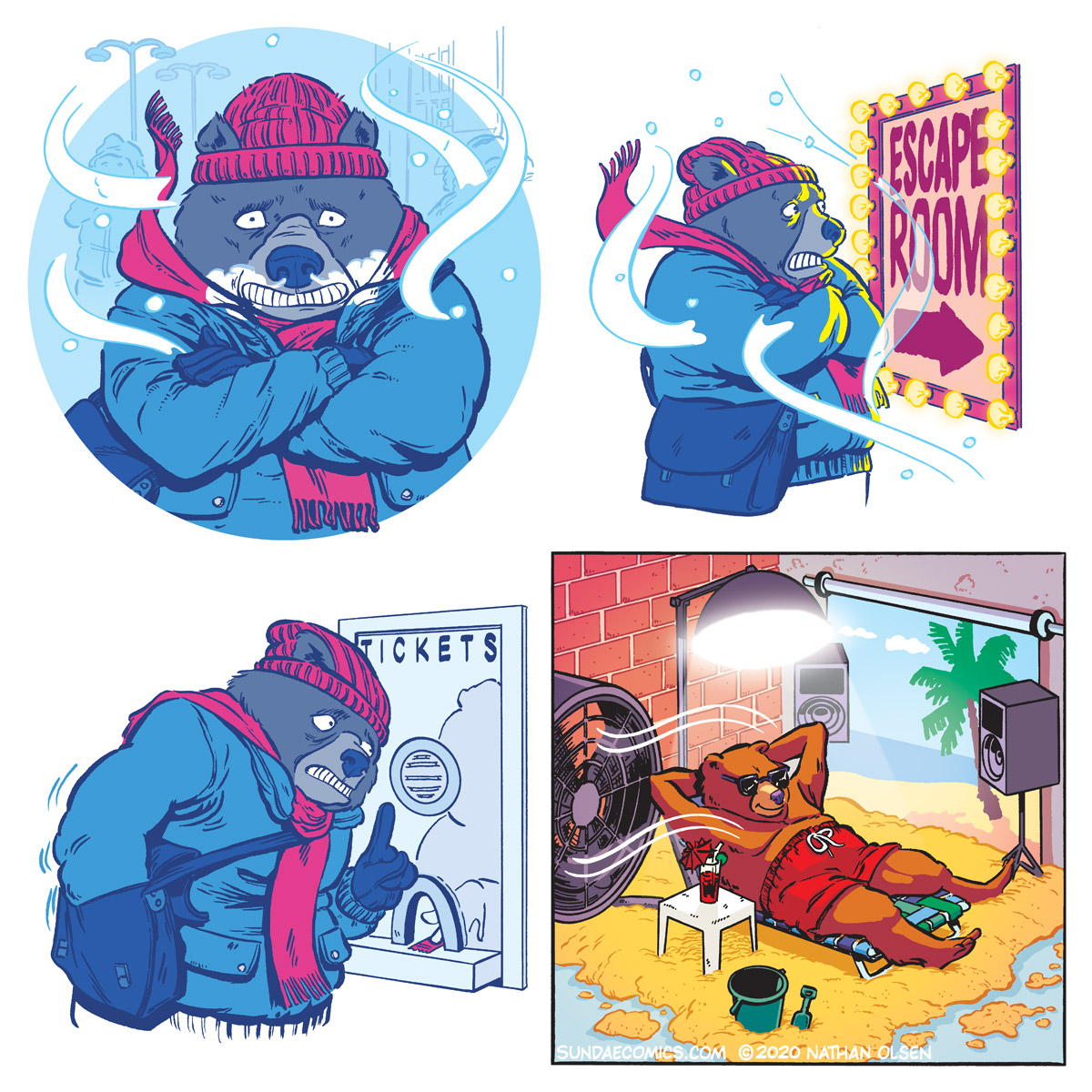 A webcomic about a bear that buys a ticket for an Escape Room experience.