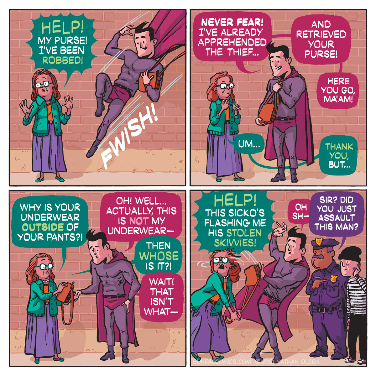 A funny webcomic about a superhero that tries to save the day and instead finds himself in hot water with Johnny Law.