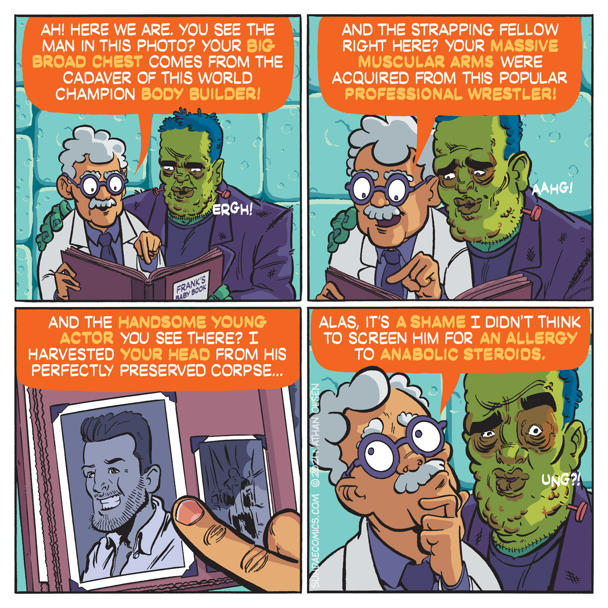 A webcomic about a mad scientist telling his young creation where frankensteins come from.