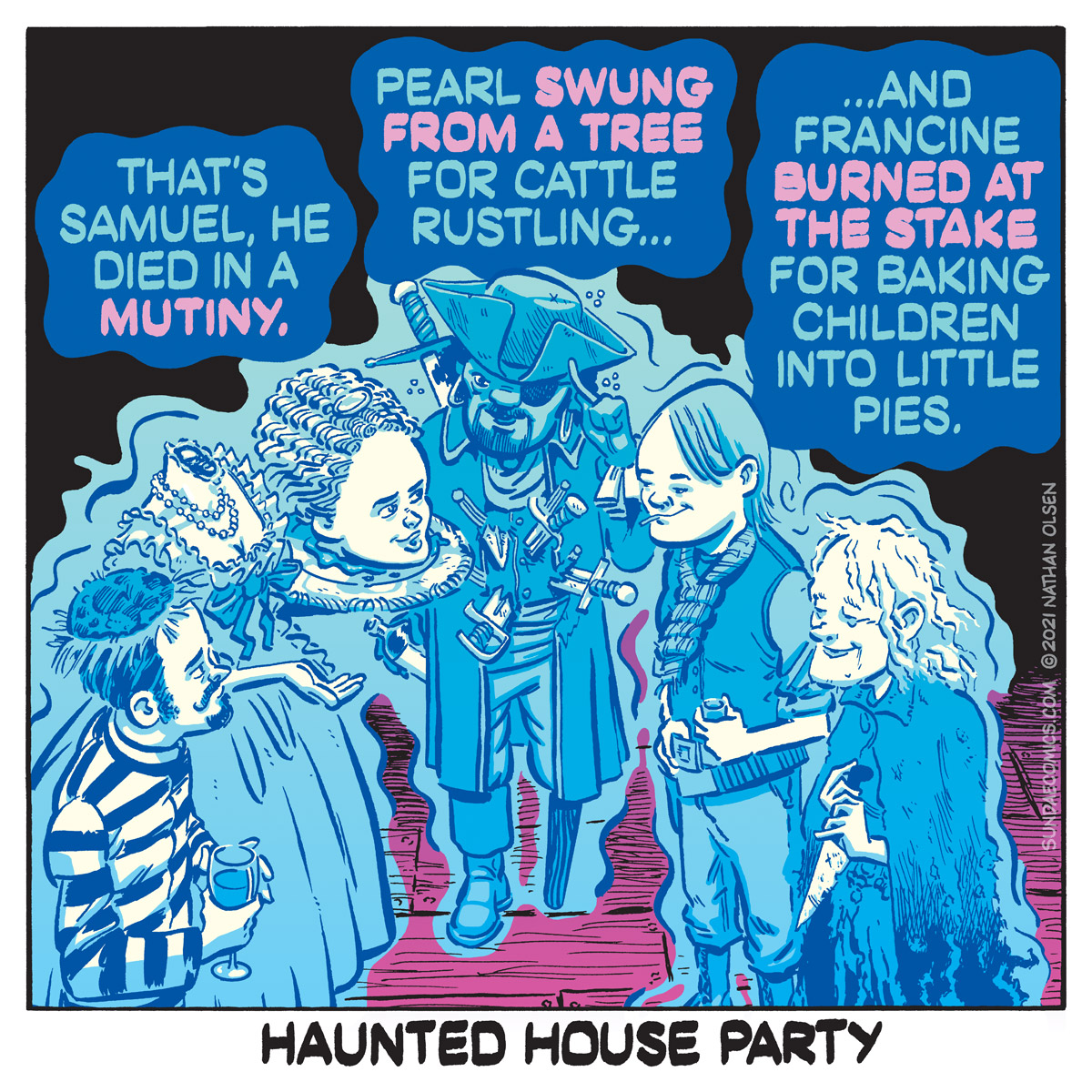 A funny webcomic about a group of ghosts that have gathered for an evening of entertainment.