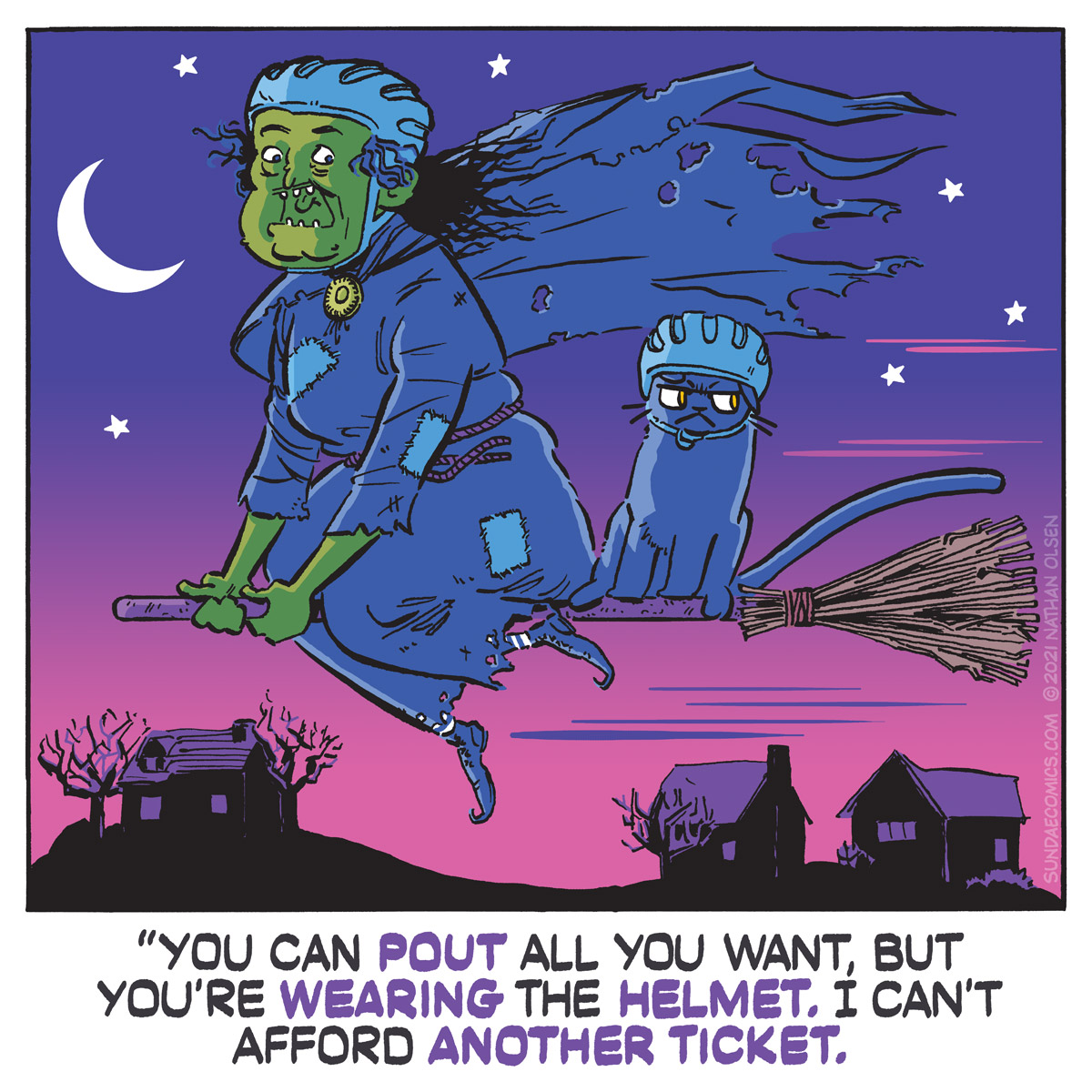 A humorous webcomic about a witch and her familiar looking totally uncool as they fly around town wearing bicycle helmets.