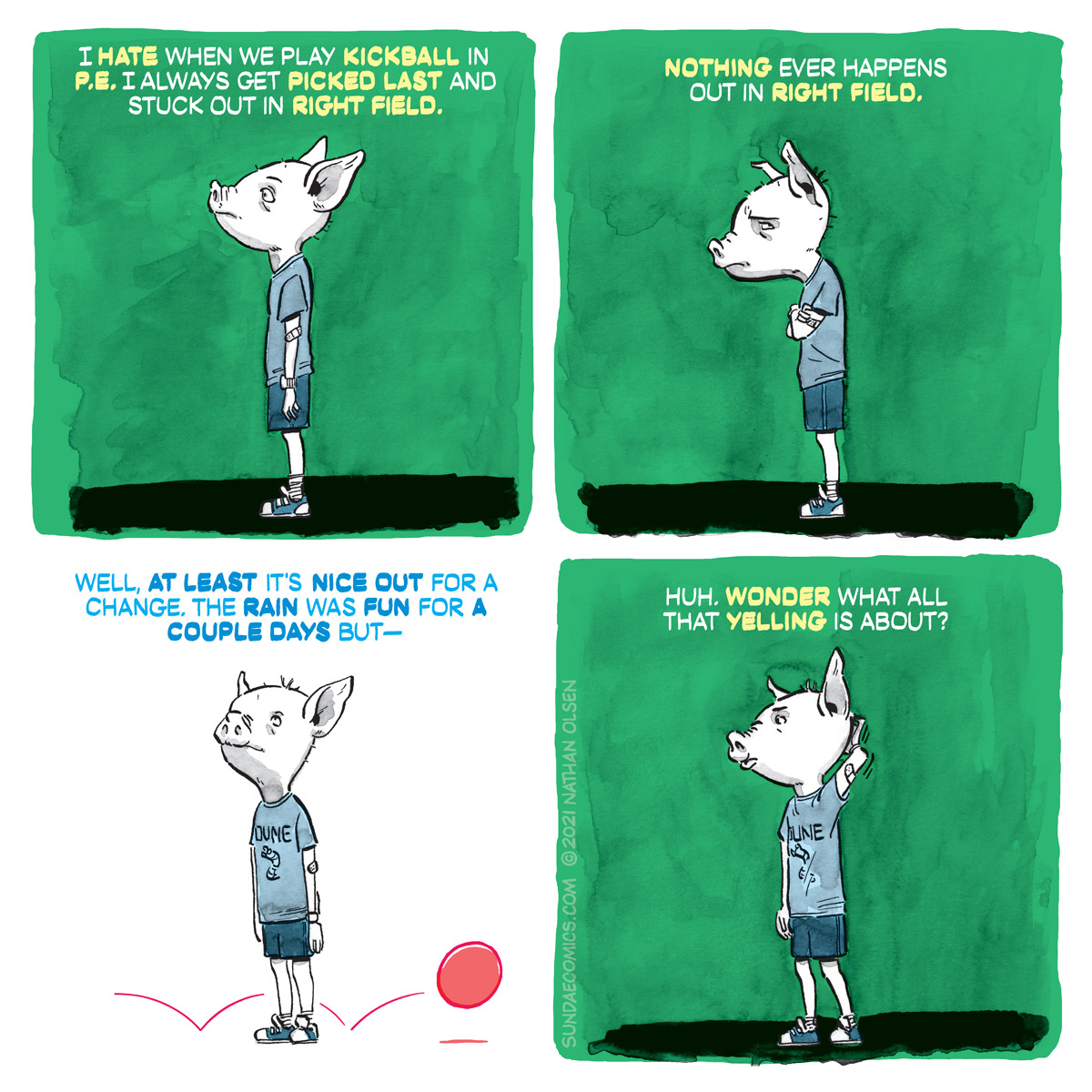A humorous webcomic about a kid who starts daydreaming in the middle of a kickball game.
