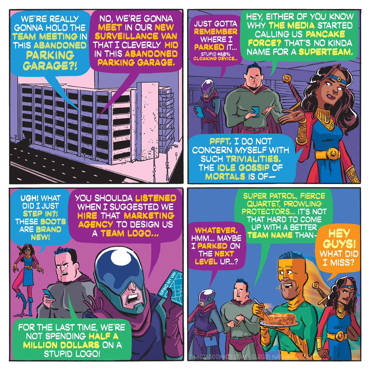 A funny webcomic about everyone's favorite super team getting lost in an abandoned parking structure!