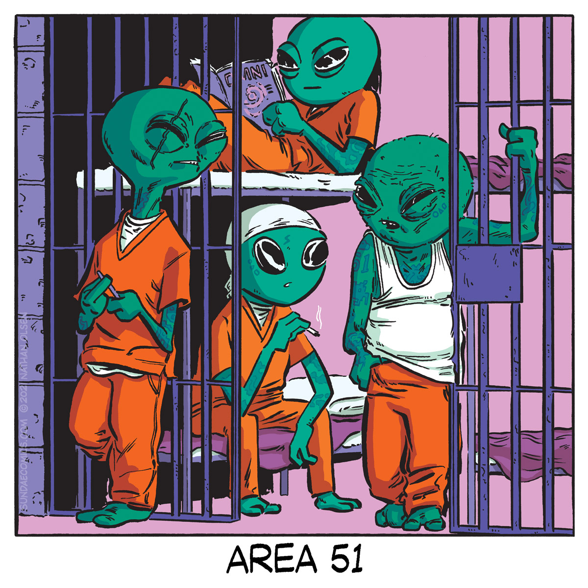 A really funny webcomic about what life is probably like in the secret alien holding facility at Area 51.