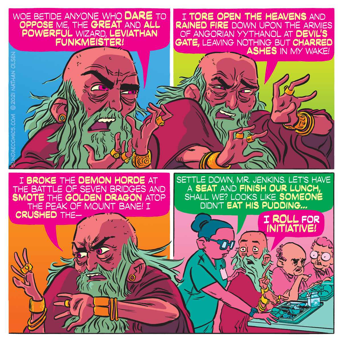 A funny comic in which an old wizard attempts to impress his audience by bragging about his many accomplishments.